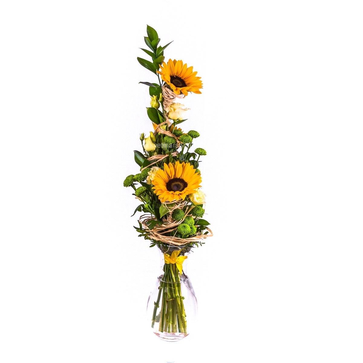 Zářivé slunečnice s eustomou