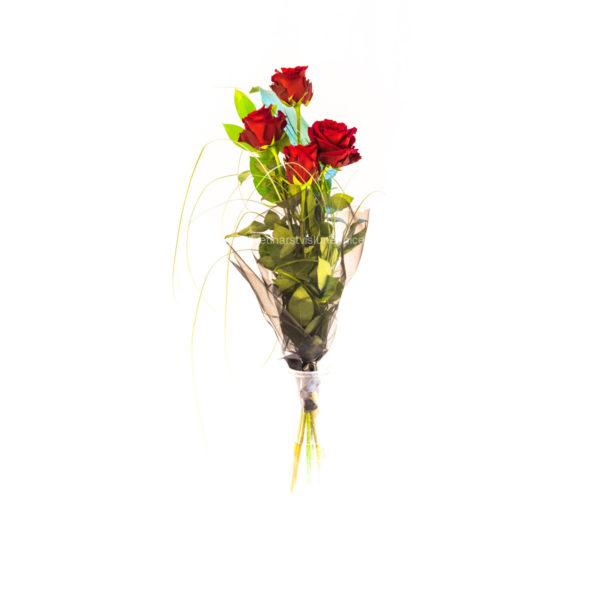 Smuteční vazba ze čtyř rudých růží