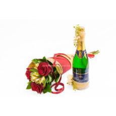 Kornout rudých růží s alstromerií a Bohemia Sekt